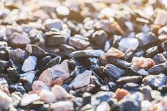Close up texture of gravel stone ; selective focus Stock Photos