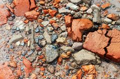 Close-up texture. Red stone and gravel sand water. Close-up texture Red stone and gravel sand water stock photos