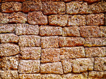 Close-up texture of uneven brick wall Stock Photo