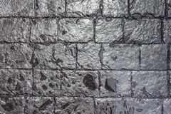 Close up texture of wet black brick wall background. Stock Images
