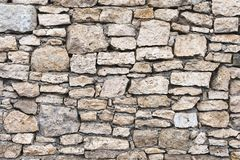 Close-up textured background is an irregular natural stone wall made of different stones without a cement-type bonding. Mixture. Medieval background Stock Photos