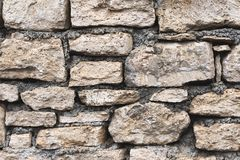 Close-up textured background is an irregular natural stone wall made of different stones without a cement-type bonding. Mixture. Medieval background Royalty Free Stock Photography