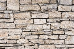 Close-up textured background is an irregular natural stone wall made of different stones without a cement-type bonding. Mixture. Medieval background Stock Image