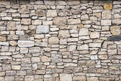 Close-up textured background is an irregular natural stone wall made of different stones without a cement-type bonding. Mixture. Medieval background Royalty Free Stock Images