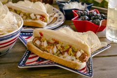 Summer holiday picnic with hot dogs and chips royalty free stock image