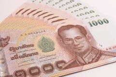 Close up of Thai banknote, Thai bath banknote with the image of Thai King Bhumibol Adulyadej. Stock Photos