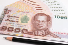 Close up of Thai banknote, Thai bath banknote with the image of Thai King Bhumibol Adulyadej. stock photos