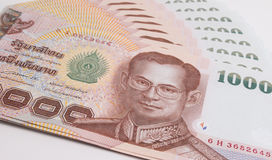 Close up of Thai banknote, Thai bath banknote with the image of Thai King Bhumibol Adulyadej. stock image