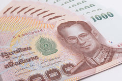 Close up of Thai banknote, Thai bath banknote with the image of Thai King Bhumibol Adulyadej. Royalty Free Stock Images