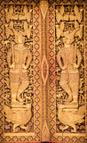 Close up Thai carved doors Royalty Free Stock Image