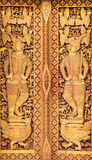 Close up Thai carved doors Stock Photo