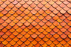 Close-up Thai ceramic roof tile of temple in Bangkok. Royalty Free Stock Photo