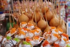 Close up of thai crispy pancake - cream crepes Royalty Free Stock Photos