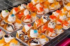 Close up of thai crispy pancake - cream crepes Royalty Free Stock Images