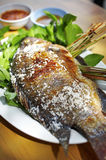 Close up thai fish grilled with salt Stock Images