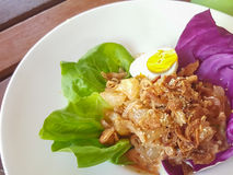Close-up , Thai food:pomelo salad with boiled egg royalty free stock images