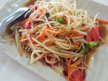 Close-up,Thai food: & x22;Som Tum& x22;Thai papaya salad. Royalty Free Stock Photo