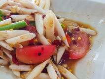 Close-up,Thai food stlye:The lotus stem salad. Stock Images