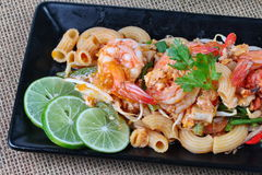 Close up of  Thai fried macaroni with shrimp ,Pad Thai Macaroni Stock Photo