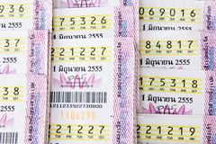 Close-up thai lottery ticket Royalty Free Stock Photo