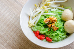 Close up Thai Noodle with meat ball and crispy pork skin Stock Photography