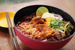 Close up thai northern spicy pork noodle Stock Photography