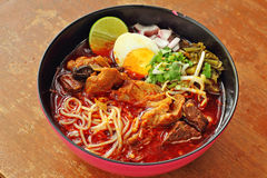 Close up thai northern spicy pork noodle Stock Photo