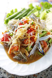 Close up thai spicy crab and papaya salad. In dish stock images