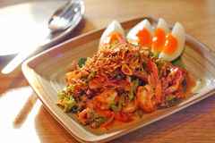 Close up thai spicy seafood salad Royalty Free Stock Photo