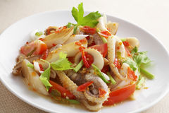 Close up thai spicy seafood salad Stock Images