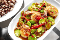 Close up thai spicy shrimp and vegetable fried Royalty Free Stock Images