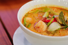Close up Thai traditional spicy prawn soup Royalty Free Stock Images