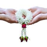 Close up Thai worship garland on white background Stock Photos