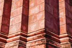 Close up of Thailand ancient red brick wall sand stone in temple Stock Photography