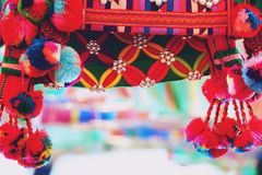 Close up thailand Colorful tribal bag  background.  royalty free stock image