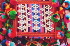 Close up thailand Colorful tribal bag  background.  stock photos