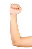 Close up of thin man's muscular arm royalty free stock images
