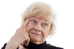 Close up of thinking old woman Stock Photo