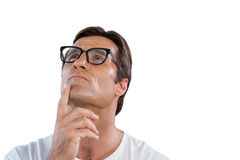 Close up of thoughtful mature man with hand on chin Royalty Free Stock Photography