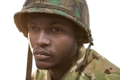 Close-up of thoughtful soldier Stock Photography