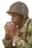 Close-up of thoughtful soldier Stock Images