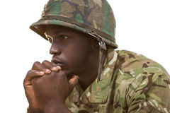 Close-up of thoughtful soldier Stock Photo