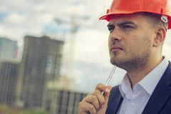 Serious engineer stock photo