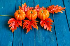 Three plastic pumpkins and red leaves fall concept Stock Photo
