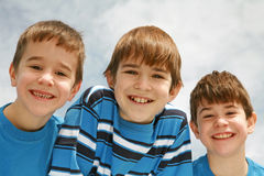 Close-up of Three Boys Stock Photo