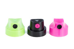 Close-up of three clean spray can nozzles Royalty Free Stock Images