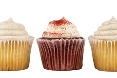 Close up with three delicious birthday cupcakes. Close up with three delicious birthday cupcakes, isolated on white background Stock Images
