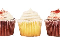 Close up on three delicious birthday cupcakes Royalty Free Stock Image