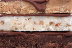 Close up of three different types of fudge Royalty Free Stock Images