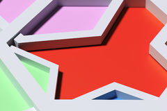 Close-up of three-dimensional colorful angles. 3d redering of close-up of three-dimensional colorful angles Royalty Free Stock Images